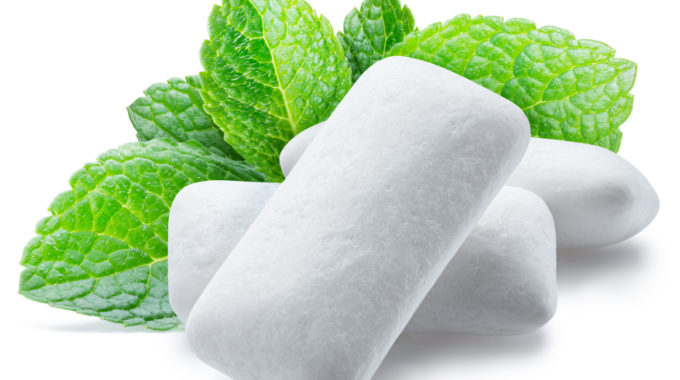 Chewing Gum Pads With Mint Leaves.